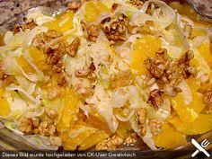 Fenchel-Orangen-Salat + joghurt + walnüsse