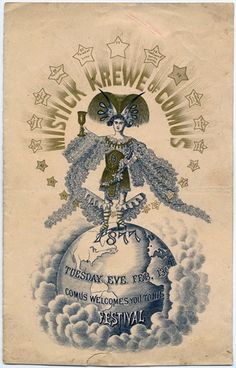 "Mistick Krewe of Comus poster for the 1877 New Orleans Mardi Gras. This is going in my ""Days of yore"" board because Comus was and still is very racist and separatist for those of you with no understanding of Mardi Gras."