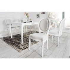 Moderne stoel louis de lux creme leinen - 36359