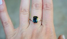 emerald cut blue green sapphire ring diamond ring Martini by Eidelprecious. Peach Sapphire Rings, Green Sapphire Engagement Ring, Sapphire Band, Round Diamond Engagement Rings, Diamond Rings, Halo Engagement, Martini, Round Diamonds, Sterling Silver Rings