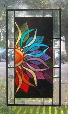 With Vivid Intensity Stained Glass Window Panel