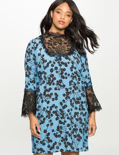 Printed Dress with Lace Detail from eloquii.com