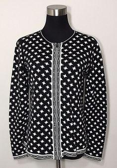 Orvis Cardigan Womens Sz S Reversible Pinwheel Black White Jacquard  #Orvis #Reversible #Business