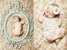 Creative newborn photos... I actually don't mind the baby-in-oval-frame idea.