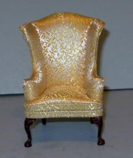 VINTAGE BESPAQ WHITE CHRISTMAS WING CHAIR DOLLHOUSE FURNITURE MINIATURES