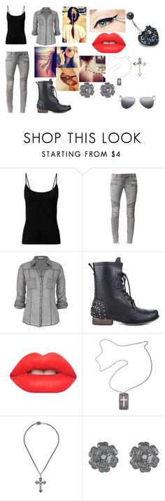 """Untitled #671"" by samantha-myers-2 ❤ liked on Polyvore featuring Balmain, maurices, Betsey Johnson, Lime Crime, Christian Dior, King Baby Studio and Ray-Ban"