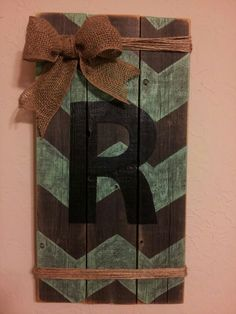 Chevron letter R wood sign with Burlap& twine.