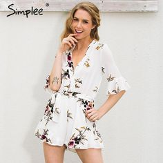 Simplee V neck print chiffon jumpsuit romper women Elastic waist half sleeve beach overalls Sexy streetwear playsuits leotard