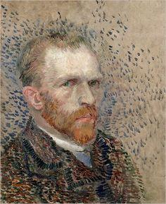 begrip: a trois quart  techniek: het is eerst getekent daarna geverfd. Je ziet maar 3/4 van het gezicht. het is een zelfportret.