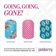 """Discontinued wraps available for purchase through February 28, 2015!! """"Azure Rose"""" """"Skinny Pink"""" & """"Poised Peacock"""""""