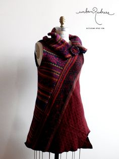 asymmetrical blood red jumper upcycled by miliaime on Etsy Refashion Dress, Clothes Refashion, Diy Clothes, Clothes For Women, Recycled Sweaters, Wool Sweaters, T Shirt Remake, Red Jumper, Old Sweater