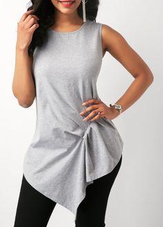 Asymmetric Hem Pleated Sleeveless T Shirt on sale only US$28.74 now, buy cheap Asymmetric Hem Pleated Sleeveless T Shirt at liligal.com   #liligal #tees #tshirt #top #womenswear #womensfashion