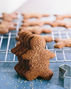 Soft Gingerbread Cookies (Healthy) + Healthy Christmas Cookies by acouplecooks: Made healthier with almond butter and a little applesauce.