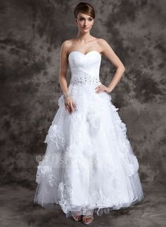 Wedding Dresses - $212.69 - A-Line/Princess Sweetheart Ankle-Length Organza Tulle Wedding Dress With Lace Beading Flower(s) (002014984) http://jjshouse.com/A-Line-Princess-Sweetheart-Ankle-Length-Organza-Tulle-Wedding-Dress-With-Lace-Beading-Flower-S-002014984-g14984