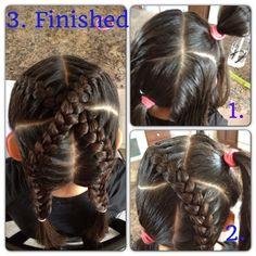 """Little girl braids """"x marks the spot"""""""