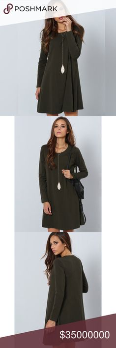 ✨Dark Green Long Sleeve Designer Casual Dress✨ ✨Fabric : Fabric is very stretchy Season : Fall Type : Tshirt Pattern Type : Plain Sleeve Length : Long Sleeve Color : Green Dresses Length : Short Style : Basic Material : Jersey Neckline : Round Neck Silhouette : Shift Shoulder(cm) : S:39cm, M:40cm Bust(cm) : S:86.5cm, M:90.5cm Length(cm) : S:81cm, M:82cm Sleeve Length(cm) : S:59cm, M:60cm Size Available : S,M✨ Dresses Mini