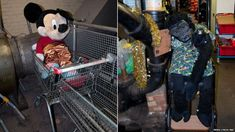 Transport for London's Baker Street lost property office. Mickey Mouse and Gorilla stuffed toys