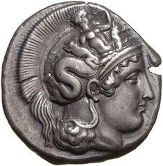 Didracma - argento - Thurioi  (ca.410-400 a.C.) - Atena con elmo attico di profilo vs.dx., sull'elmo il mostro Scilla con le braccia alzate - Münzkabinett Berlin