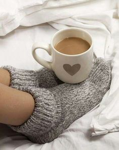 Warm cup of coffee on a cold winter day