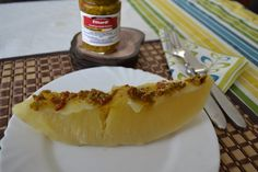 Bread fruit (simply boiled), served with some TamTam Chilli Pickles. Yum yum!