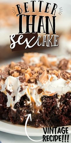 Better than sex cake is one of my favorite desserts. It's chocolate cake with sweetened condensed milk, caramel sauce, Cool Whip and crushed Heath bars. Summer Dessert Recipes, Easy Desserts, Delicious Desserts, Cool Whip Desserts, Trifle Desserts, Cold Desserts, Cake Mix Recipes, Baking Recipes, Cookie Recipes