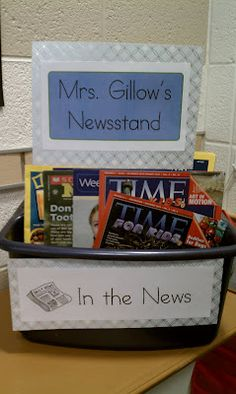 Promoting a love for reading... classroom newsstand.  Read to Self or Read to Someone.