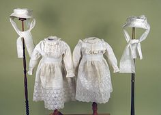 Circa 1900 Two Sisters' White Dresses and Hat Sets. Via Whitaker Auctions.
