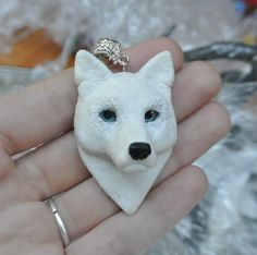 White Wolf face pendant fantasy polymer clay by 1000and1dragons