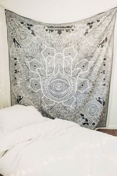 Lady Scorpio | @Ladyscorpio101 ☽☽ ladyscorpio101.com ☆ Perfect Bedroom Decor for the Hippie at heart ♡ Shop Lady Scorpio for the ultimate stocking stuffers for the Holidays! Black & White themed room with Sun & Moon Phase Wall Hangings   Hamsa Divine Mandala Tapestry