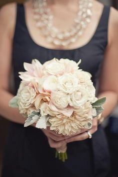 Just beautiful: roses, ranunculous, dahlia, dusty miller