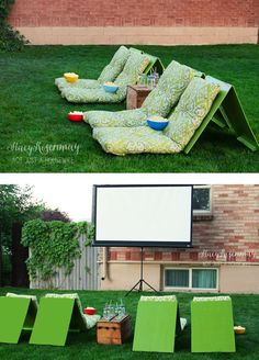 Switch up traditional family night by creating a backyard theater this summer! The kids will LOVE it!