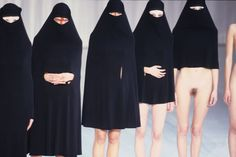 """Hussein Chalayan statement : the designer's work has often reflected religious and political issues , for example """"Between"""" of S/S 1998 models were dressed in chadors and the length of each garment became shorter until only the face remained hidden."""