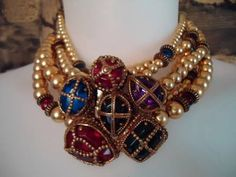 Massive Vtg 80s French Couture Gripoix Torsade Byzantine Runway Collar Necklace | eBay