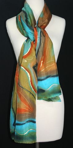 Silk Scarf Hand Painted Silk Shawl Teal by SilkScarvesColorado