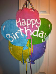 Birthday Balloons - Burlap Door Hanger. $40.00, via Etsy.