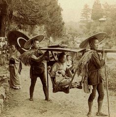 Japan (the Meiji period) ~ unknown photographer 1901 image Geisha travelling by yama kago in Meiji era Japan...