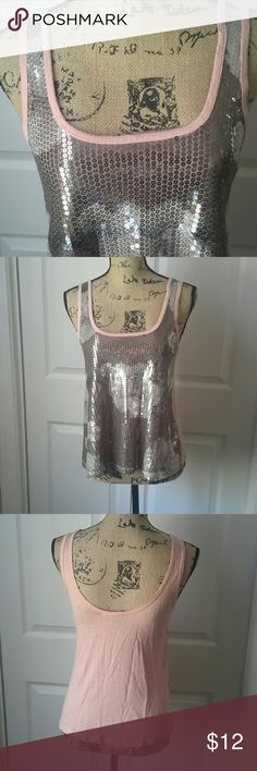Charlotte Russe Sequin Crop Top So very cute sequined top! Sequins in front & pink back Sequins have floral design. Charlotte Russe Tops Crop Tops