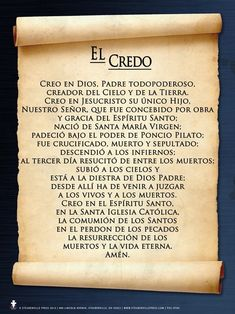 Praying The Rosary Catholic, Catholic Prayers In Spanish, Prayer Scriptures, God Prayer, Pray In Spanish, Rosary In Spanish, Hail Holy Queen, Archangel Prayers, Apostles Creed
