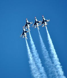 US Air Force Thunderbirds fly over their home base, Nellis AFB in Las Vegas, Nevada.  by eldancer1
