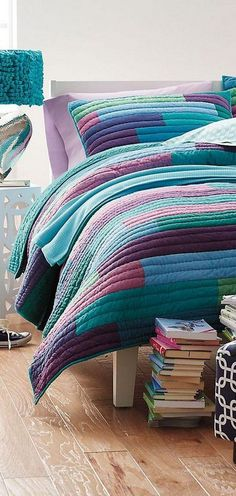 The brightest quilt on the block. Stitched in bold horizontal bands, this vibrant patchwork quilt for kids is sewn of yarn-dyed cotton chambray. Teenage Girl Bedroom Decor, Teen Girl Bedding, Girls Bedroom, Diy Bedroom, Grey Bedroom With Pop Of Color, Bright Quilts, Modern Bedroom Design, Modern Bedrooms, Quilt Bedding