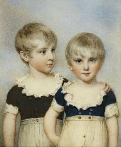 William Wood (British, 1769-1810), A rare double-portrait of 'The Beauvais Boys': Lewis and Alexander Beauvais, aged 5 and 4 years