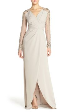e1c0dcbe0bf Beaded Sleeve Faux Wrap Column Gown