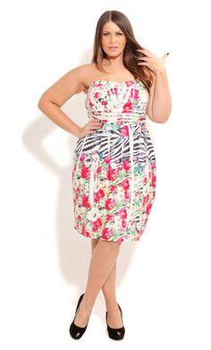City Chic CRUSHED JUNGLE DRESS- Women's Plus Size Fashion