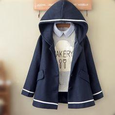 www.sanrense.com - College style hooded woolen coat