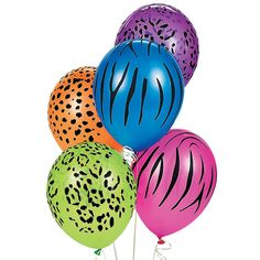 """Latex Neon Animal Print Balloons. Create a wild party theme with these neon animal print balloons! Perfect for decorating at a jungle safari party or blast from the past 80s birthday bash, these bright balloons feature leopard spots, zebra stripes, cheetah prints and more. Bulk-priced for extra value, you get 50 balloons in every pack. (50 pcs. per unit) 11"""""""