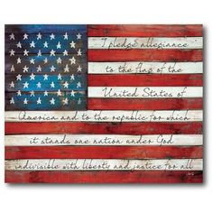 Show your patriotism while adding rustic charm to your home with the Pledge Allegiance Flag Wall Art from Courtside Market. The first few lines of the Pledge Allegiance is depicted on a canvas background of this unique, ready-to-hang artwork. American Flag Painting, American Flag Art, American Flag Drawing, Framed American Flag, American Flag Pallet, American Symbols, Canvas Background, Pledge Of Allegiance, Allegiant