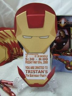 My Son's Birthday Party Invitations Iron Man, Tony Stark Style #Ironman, #Invitations, #TonyStark