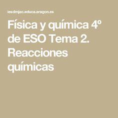 Física y química 4º de ESO Tema 2. Reacciones químicas