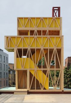 Maich Swift Architects has designed this year's annual Antepavilion in East London – a brightly coloured Potemkin Theatre Architecture Design, Maquette Architecture, Pavilion Architecture, Chinese Architecture, Architecture Office, Futuristic Architecture, Architecture Foundation, Pavillion, Green Facade