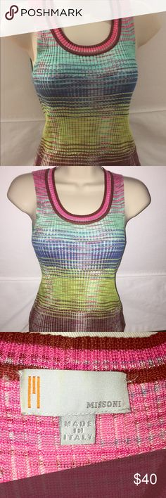 Missoni size 4 sleeveless top Lightweight weave, sleeveless, crew neck shell. Can be worn by itself or for a pop of colour under an outfit. A colourful statement top that is unmistakably Missioni. Missoni Tops
